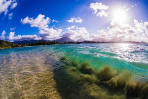 Wave breaking off Popoia Island (Flat Island), Kailua Bay, Oahu, Hawaii by Mark A Johnson