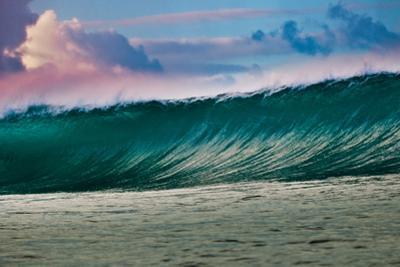Wonder Wall-Heaving wall of water breaking over a Hawaiian reef, Hawaii by Mark A Johnson