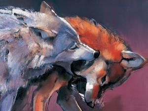 Two Wolves (Detail) by Mark Adlington