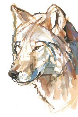 Wolf, 2018, mixed media on paper by Mark Adlington