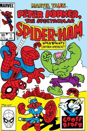 Marvel Tails: Spider-Ham No.1 Cover: Spider-Ham, Captain Americat and Hulkbunny Flying by Mark Armstrong