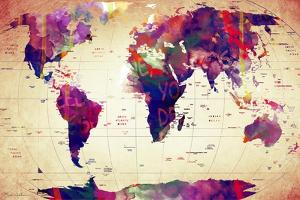 Map of the World Vintage by Mark Ashkenazi