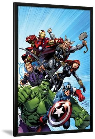 Avengers Assemble No.1 Cover: Captain America, Hulk, Black Widow, Hawkeye, Thor, and Iron Man by Mark Bagley