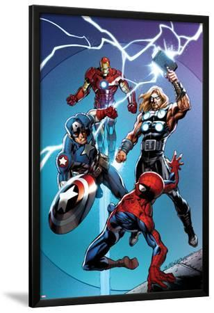 Ultimate Spider-Man No.157 Cover: Spider-Man, Captain America, Thor, and Iron Man by Mark Bagley