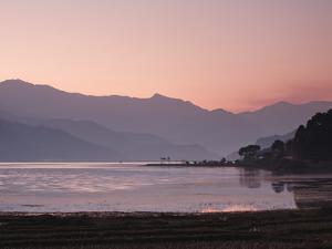 Phewa Lake at Sunset, Near Pokhara, Gandak, Nepal, Asia by Mark Chivers