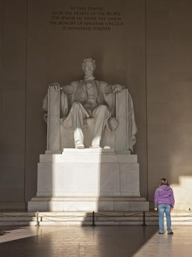The Statue of Lincoln in the Lincoln Memorial Being Admired by a Young Girl, Washington D.C., USA by Mark Chivers