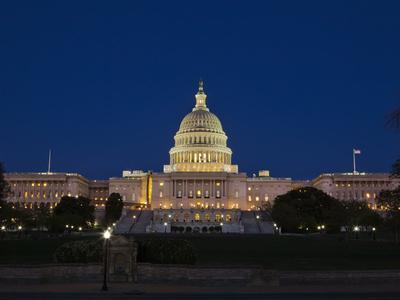 US Capitol Complex, Capitol and Senate Building Showing Current Renovation Work, Washington DC, USA