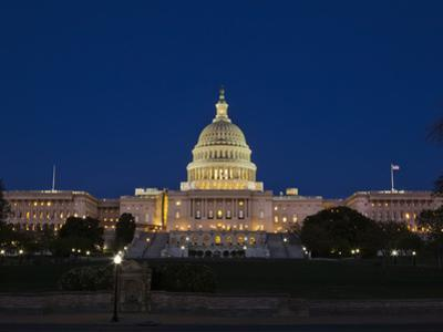 US Capitol Complex, Capitol and Senate Building Showing Current Renovation Work, Washington DC, USA by Mark Chivers
