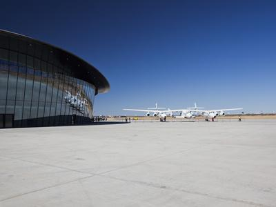 Virgin Galactic's White Knight 2 with Spaceship 2 on the Runway at the Virgin Galactic Gateway Spac