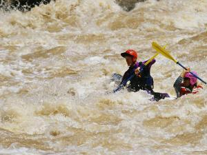 Kayakers Paddle in Colorado River Rapids by Mark Cosslett