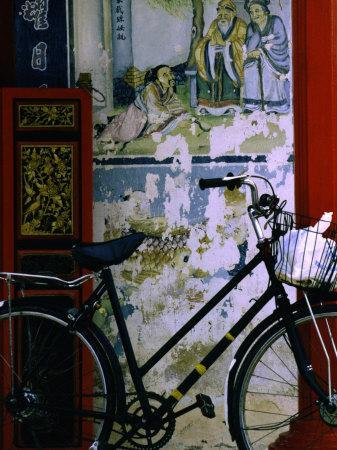 Bicycle Against Muralled Wall of Chinese Temple at Marudi, Sarawak, Malaysia