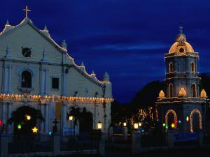 Christmas Lighting on the Cathedral of St. Paul and Tower, Vigan, Philippines by Mark Daffey