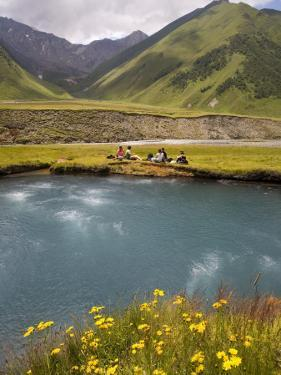 Hiking Group Resting Beside Mineral Spring in Truso Valley by Mark Daffey