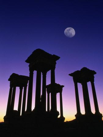 Pedestals of Tetrapylon and Moon at Sunset, Palmyra, Syria