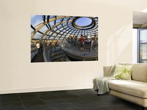 Visitors Inside Glass Dome on Top of Parliamentary Building, the Reichstag, Mitte by Mark Daffey