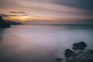 Porthtowan Beach Looking Along the Cornish Coastline at Sunset by Mark Doherty
