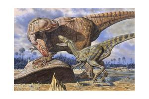 Carcharodontosaurus Guards its Kill Against Deltadromeus by Mark Hallett