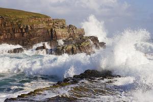 Waves Crashing over Rocks, Coastline Near Point of Stoer, Assynt, Sutherland, Nw Scotland, UK by Mark Hamblin