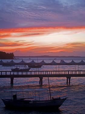 Camamu Bay, Island of Tinhare, Sunset over Jetty and Boats, Village of Morro De Sao Paulo, Brazil by Mark Hannaford