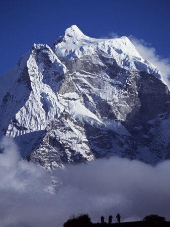 Climbers on Ridge in Dodh Koshir River Valley Photograph Himalayan Peak of Everest Range