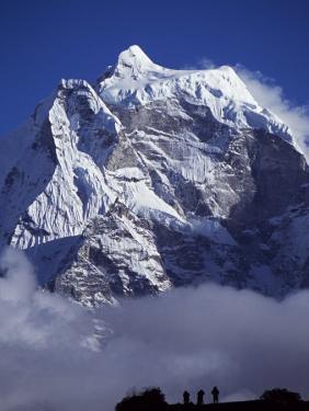 Climbers on Ridge in Dodh Koshir River Valley Photograph Himalayan Peak of Everest Range by Mark Hannaford