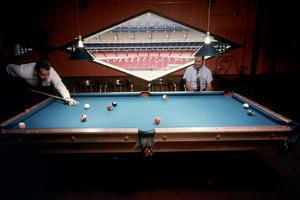 Men Paying Billiards in a Sky Room of Harris County Domed Stadium 'Astrodome', Houston, TX, 1968 by Mark Kauffman