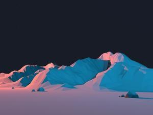 Low-Poly Mountain Landscape at Night with Stars by Mark Kirkpatrick