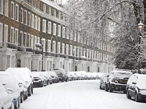 London Street in Snow, Notting Hill, London, England, United Kingdom, Europe by Mark Mawson