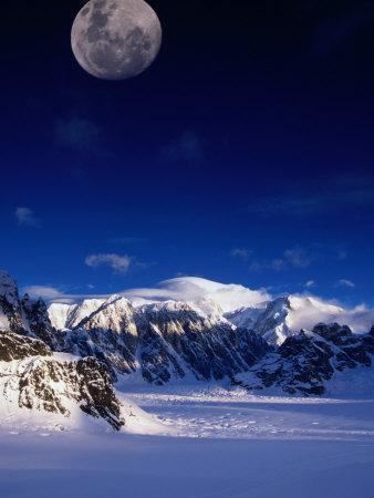 High Moon Over the Ruth Ampitheatre on Ruth Glacier, Denali National Park & Preserve, Alaska, USA