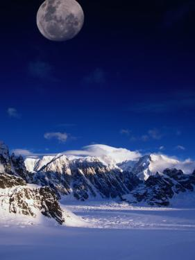 High Moon Over the Ruth Ampitheatre on Ruth Glacier, Denali National Park & Preserve, Alaska, USA by Mark Newman