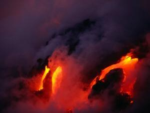 Lava Flowing into the Ocean from Puu Oo Vent, Mt. Kilauea, Hawaii Volcanoes National Park, Hawaii by Mark Newman
