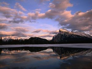 Pastel Shades of Dusk Over Mt. Rundle and Vermilion Lake, Banff National Park, Alberta, Canada by Mark Newman