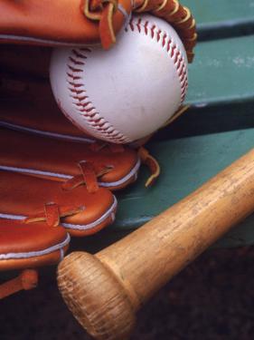 Still Life of Baseball Glove, Ball, and Bat by Mark Polott
