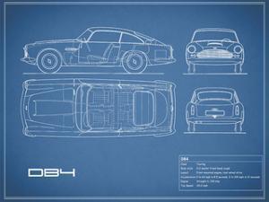 Aston DB4 -Blue by Mark Rogan