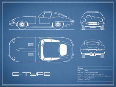Jaguar E-Type-Blue by Mark Rogan