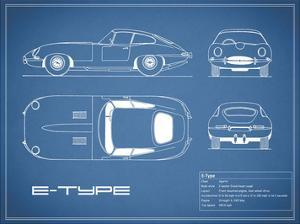 Jaguar E-Type-Blue by Mark Rogan