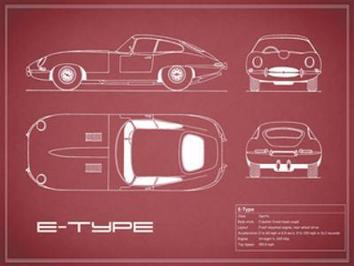 Jaguar E-Type-Maroon by Mark Rogan
