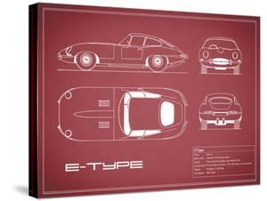 Jaguar E-Type-Maroon by Mark Rogan