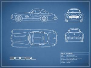 Mercedes 300SL Gullwing-Blue by Mark Rogan