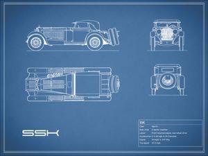 Mercedes SSK-Blue by Mark Rogan