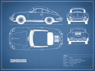Porsche 356C-Blue by Mark Rogan