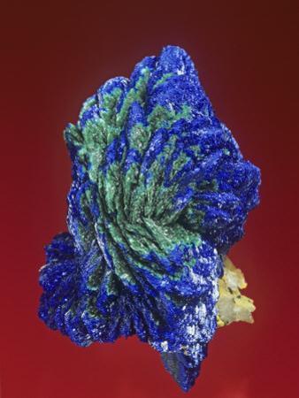 Azurite with Malachite Crystals, Tsumeb Mine, Namibia, Africa