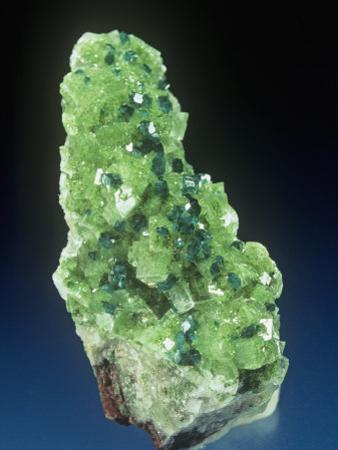 Dioptase Crystals with Duftite and Calcite, Tsumeb Mine, Namibia, Africa
