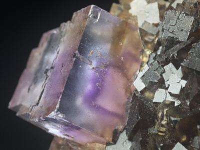 Fluorite Crystal (Caf2) on Sphalerite, Minerva Mine, Illinois, USA