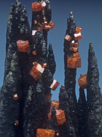 Vanadinite Crystals on Goethite, Taouz, Morocco, Africa