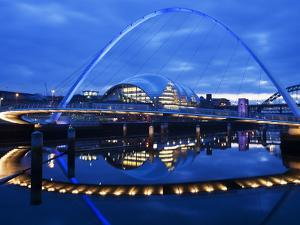 Gateshead Millennium Bridge, the Sage and the River Tyne Between Newcastle and Gateshead, at Dusk,  by Mark Sunderland