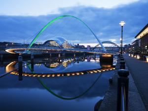Gateshead Millennium Bridge, the Sage and Tyne Bridge at Dusk, Spanning the River Tyne Between Newc by Mark Sunderland