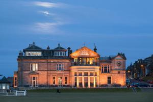 Moonrise over the Royal and Ancient Golf Club, St. Andrews, Fife, Scotland, United Kingdom, Europe by Mark Sunderland