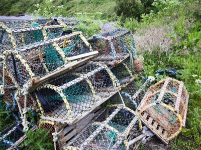 Old Lobster Pots at Catterline, Aberdeenshire, Scotland, United Kingdom, Europe