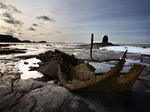 Old Wreck and Black Nab at Saltwick Bay, Near Whitby, North Yorkshire, Yorkshire, England, UK by Mark Sunderland